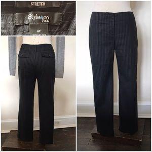 Black and white pinstripe trousers pin stripe